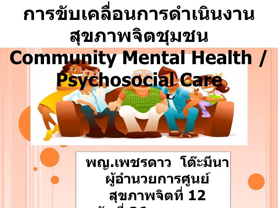 พญ. เพชรดาว โต๊ะมีนา ผู้อำนวยการศูนย์ สุขภาพจิตที่ 12 วันที่ 26 พฤษภาคม 2557 การขับเคลื่อนการดำเนินงาน สุขภาพจิตชุมชน Community Mental Health / Psycho