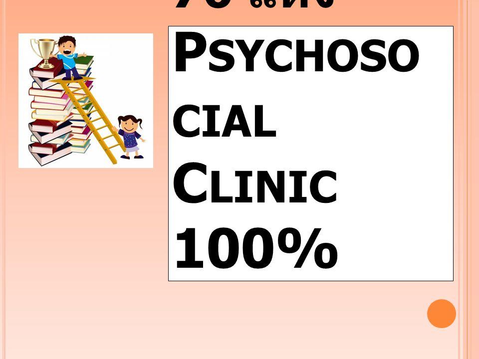 โรงพยาบาล 76 แห่ง P SYCHOSO CIAL C LINIC 100%