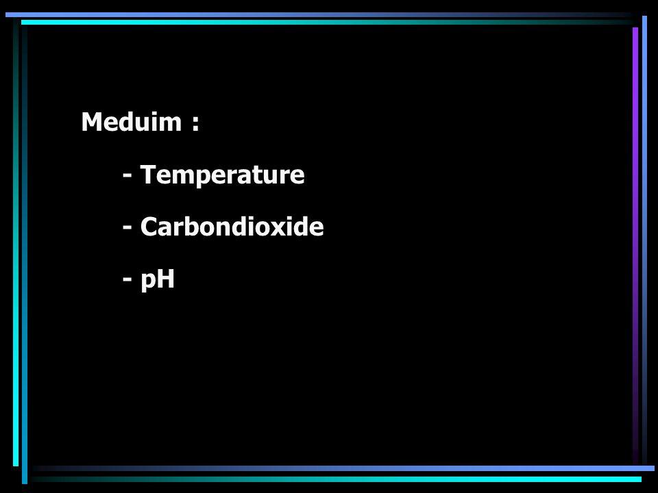 Meduim : - Temperature - Carbondioxide - pH