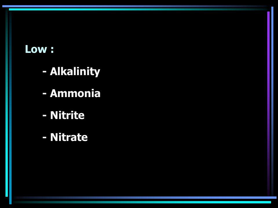 Low : - Alkalinity - Ammonia - Nitrite - Nitrate
