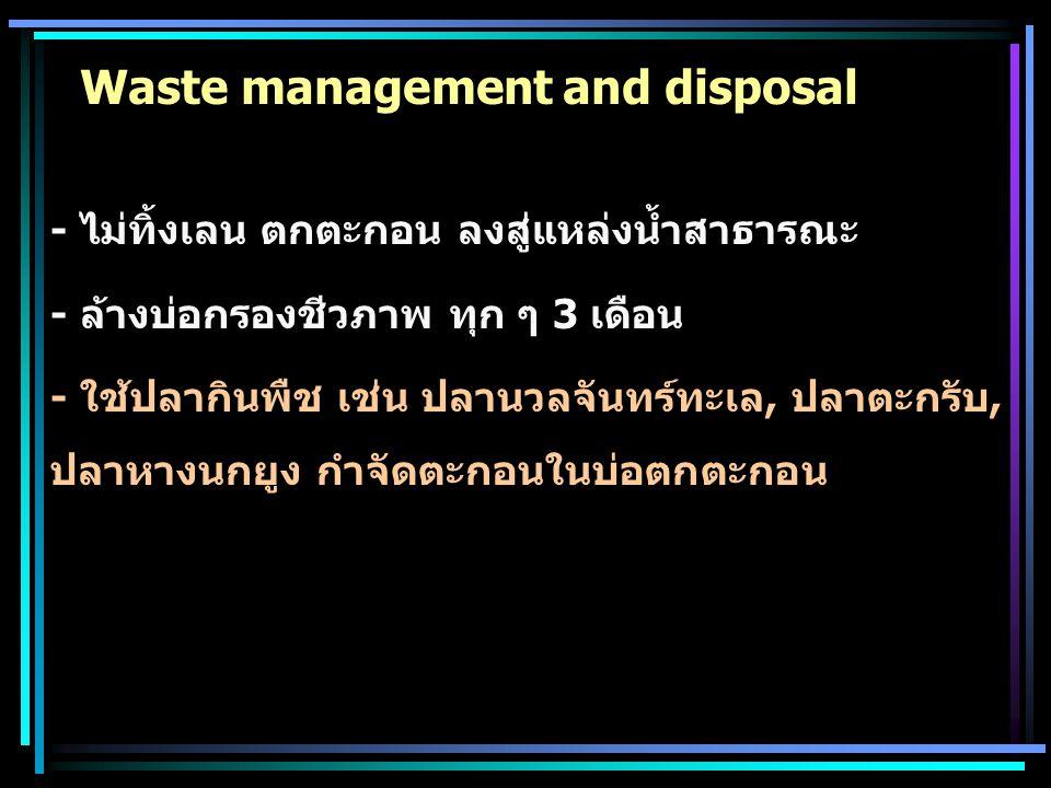 Waste management and disposal - ไม่ทิ้งเลน ตกตะกอน ลงสู่แหล่งน้ำสาธารณะ - ล้างบ่อกรองชีวภาพ ทุก ๆ 3 เดือน - ใช้ปลากินพืช เช่น ปลานวลจันทร์ทะเล, ปลาตะก