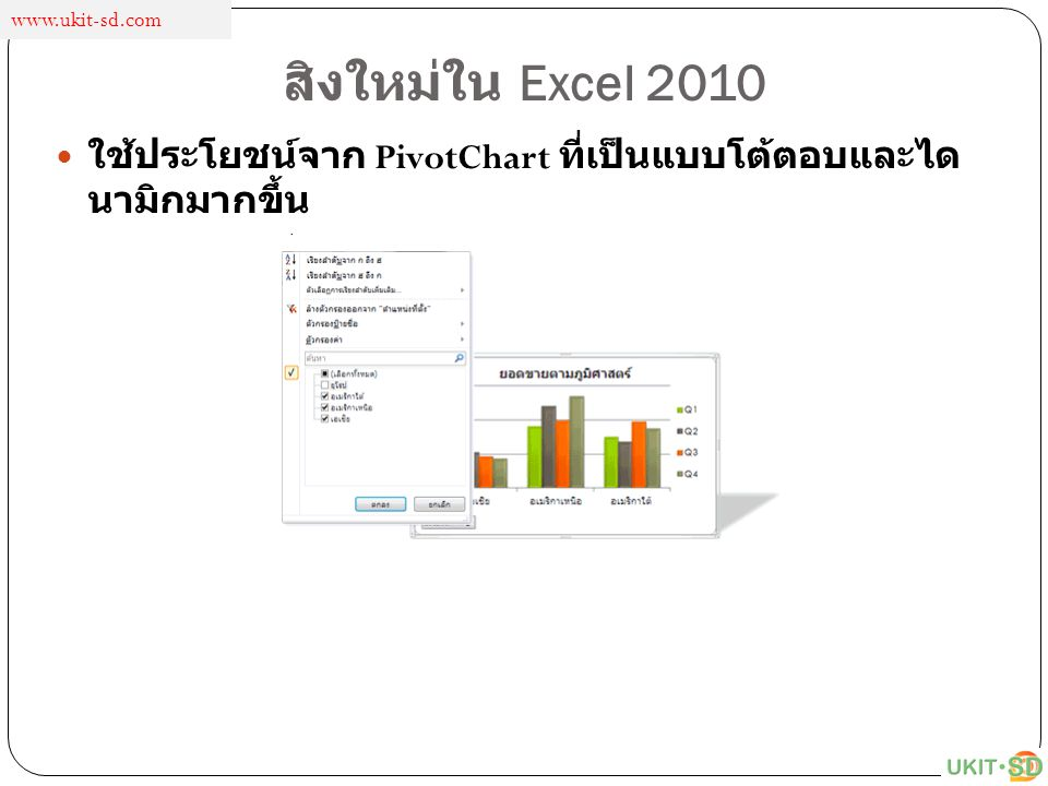 สิงใหม่ใน Excel 2010 ใช้ประโยชน์จาก PivotChart ที่เป็นแบบโต้ตอบและได นามิกมากขึ้น www.ukit-sd.com
