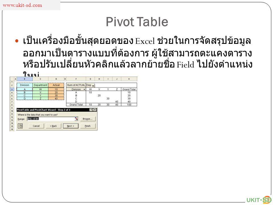 Pivot Table เป็นเครื่องมือขั้นสุดยอดของ Excel ช่วยในการจัดสรุปข้อมูล ออกมาเป็นตารางแบบที่ต้องการ ผู้ใช้สามารถตะแคงตาราง หรือปรับเปลี่ยนหัวคลิกแล้วลากย