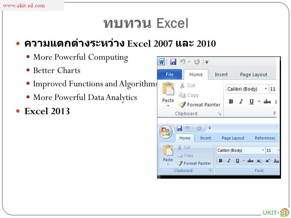ทบทวน Excel ความแตกต่างระหว่าง Excel 2007 และ 2010 More Powerful Computing Better Charts Improved Functions and Algorithms More Powerful Data Analytic