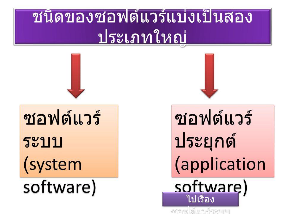 ชนิดของซอฟต์แวร์แบ่งเป็นสอง ประเภทใหญ่ ซอฟต์แวร์ ระบบ (system software) ซอฟต์แวร์ ประยุกต์ (application software) ไปเรื่อง ซอฟต์แวร์ระบบ ไปเรื่อง ซอฟต