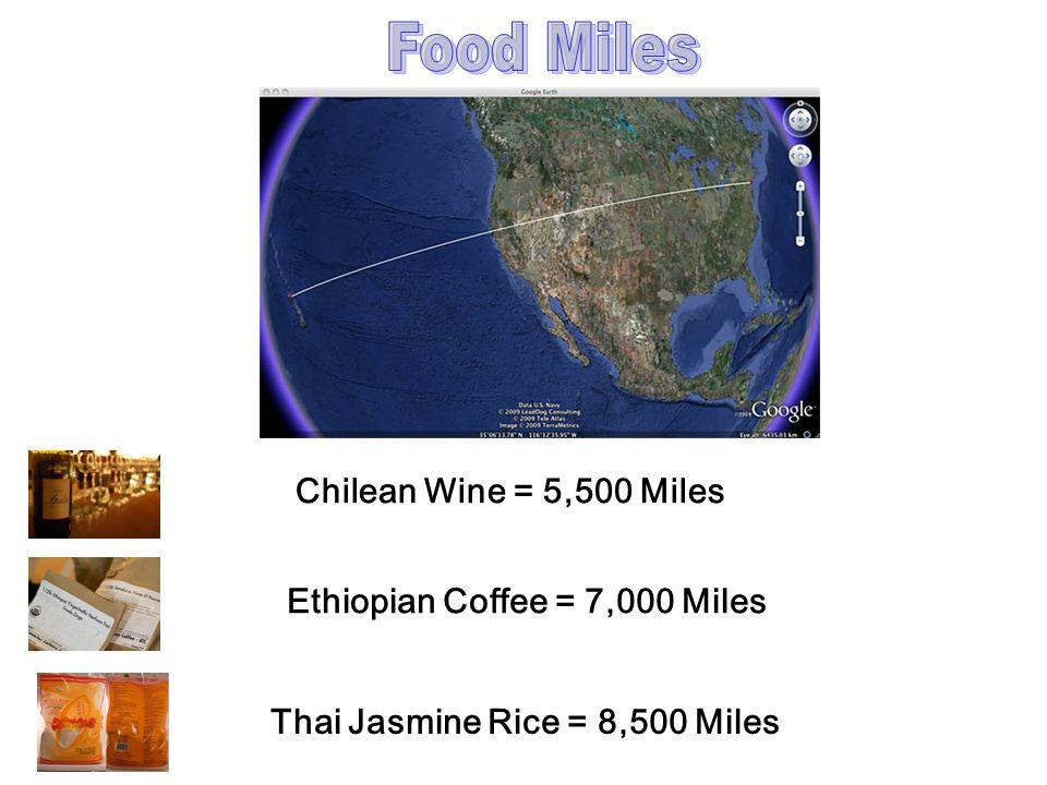 Thai Jasmine Rice = 8,500 Miles Chilean Wine = 5,500 Miles Ethiopian Coffee = 7,000 Miles