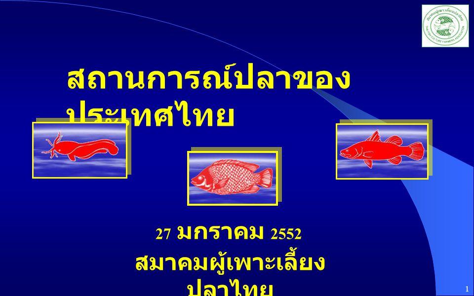 สถานการณ์ปลาของ ประเทศไทย สมาคมผู้เพาะเลี้ยง ปลาไทย 27 มกราคม 2552 1