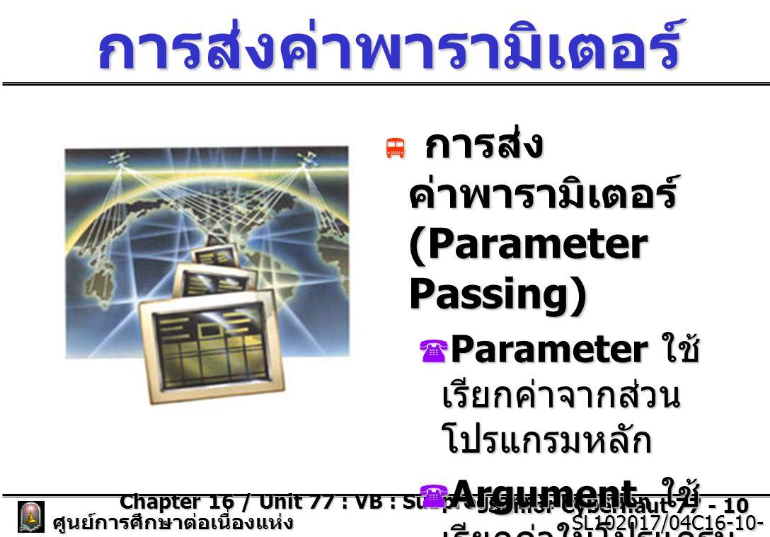 Chapter 16 / Unit 77 : VB : Subprogram & Function Senior Cybernaut 77 - 10 ศูนย์การศึกษาต่อเนื่องแห่ง จุฬาลงกรณ์มหาวิทยาลัย SL102017/04C16-10- 77/ISSUE2 SL102017/04C16-10- 77/ISSUE2 การส่งค่าพารามิเตอร์  การส่ง ค่าพารามิเตอร์ (Parameter Passing)  Parameter ใช้ เรียกค่าจากส่วน โปรแกรมหลัก  Argument ใช้ เรียกค่าในโปรแกรม ย่อย