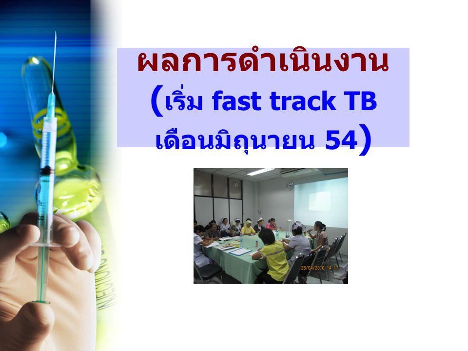 ผลการดำเนินงาน ( เริ่ม fast track TB เดือนมิถุนายน 54 )