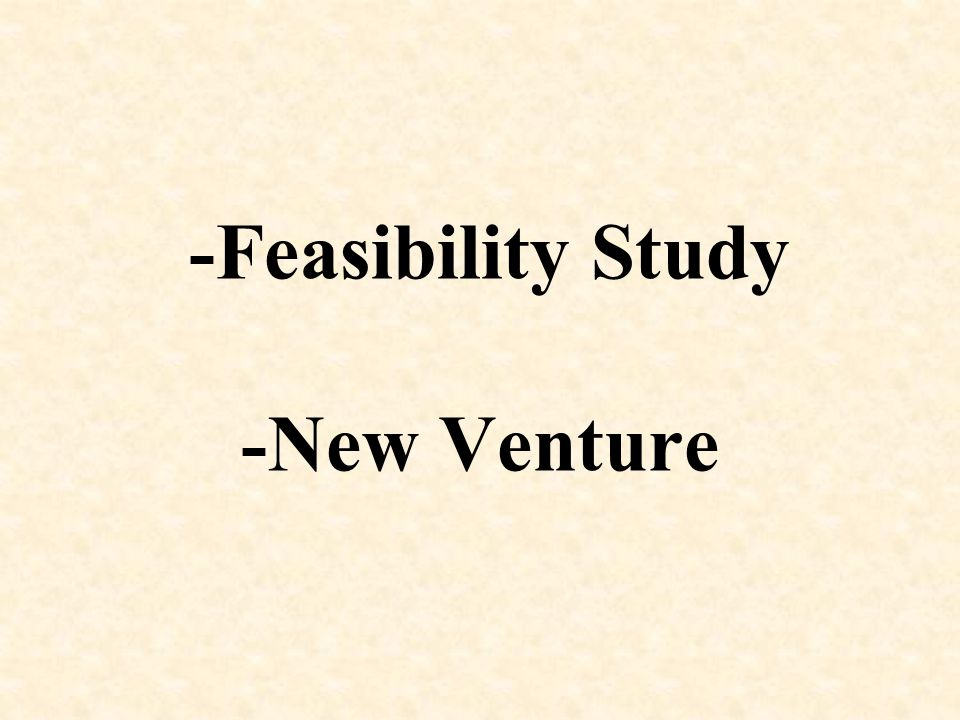 -Feasibility Study -New Venture