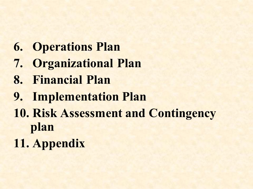 6. Operations Plan 7. Organizational Plan 8. Financial Plan 9. Implementation Plan 10. Risk Assessment and Contingency plan 11. Appendix