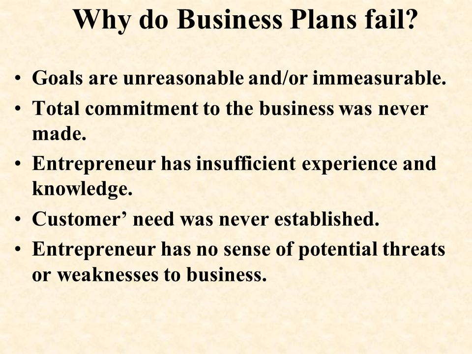 Why do Business Plans fail? Goals are unreasonable and/or immeasurable. Total commitment to the business was never made. Entrepreneur has insufficient