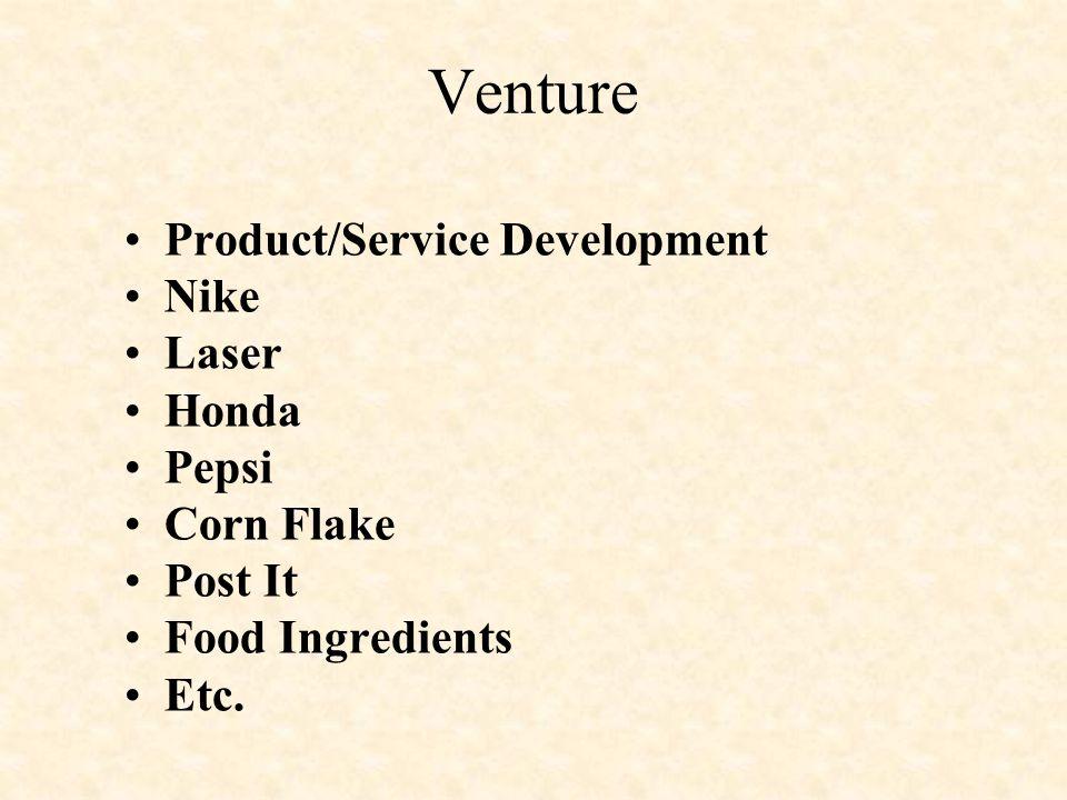 Venture Product/Service Development Nike Laser Honda Pepsi Corn Flake Post It Food Ingredients Etc.