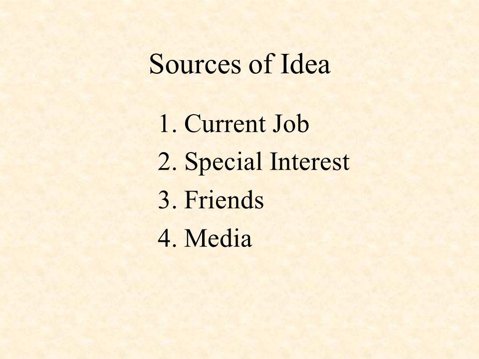 Sources of Idea 1. Current Job 2. Special Interest 3. Friends 4. Media