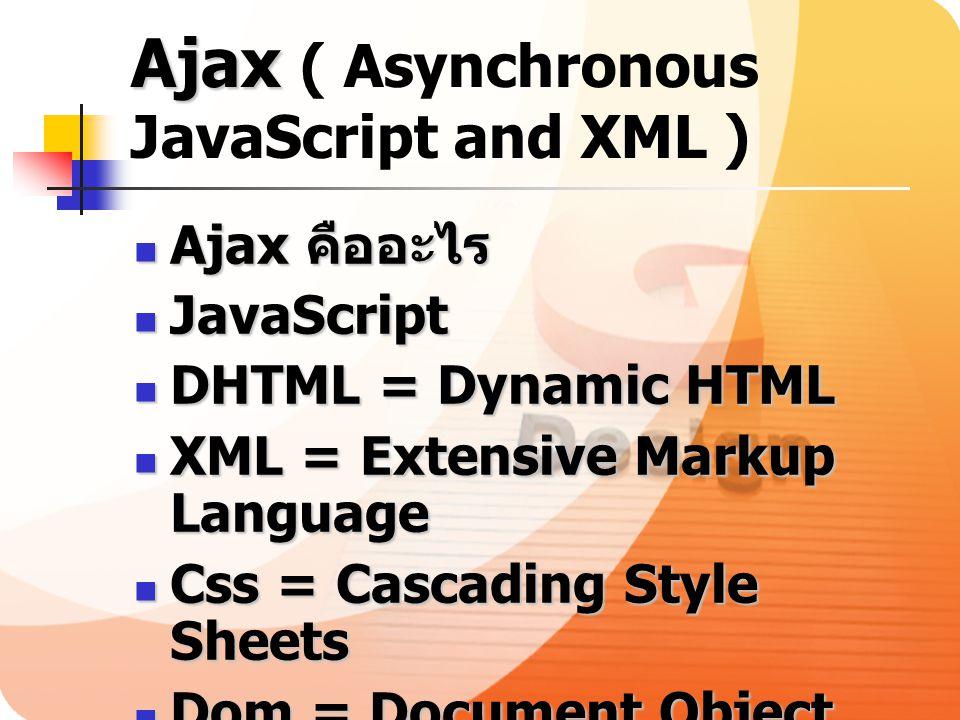 Ajax Ajax ( Asynchronous JavaScript and XML ) Ajax คืออะไร Ajax คืออะไร JavaScript JavaScript DHTML = Dynamic HTML DHTML = Dynamic HTML XML = Extensiv