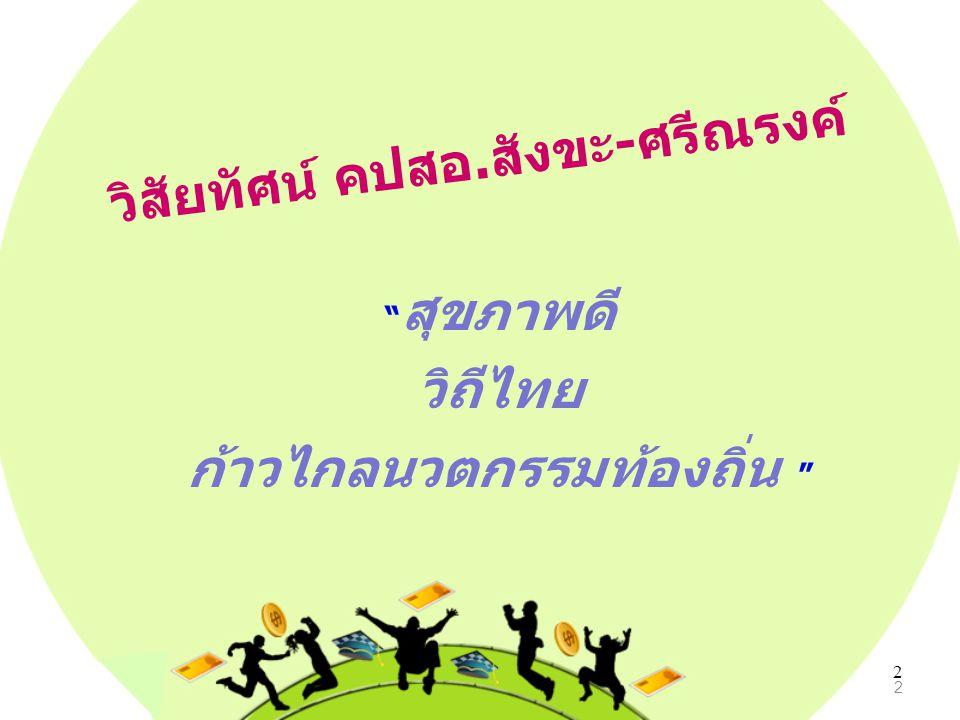 """2 วิสัยทัศน์ คปสอ.สังขะ-ศรีณรงค์ """" สุขภาพดี วิถีไทย ก้าวไกลนวตกรรมท้องถิ่น """" 2"""