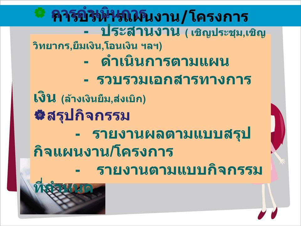 การบริหารแผนงาน/โครงการ  การดำเนินการ - ประสานงาน ( เชิญประชุม, เชิญ วิทยากร, ยืมเงิน, โอนเงิน ฯลฯ ) - ดำเนินการตามแผน - รวบรวมเอกสารทางการ เงิน ( ล้างเงินยืม, ส่งเบิก )  สรุปกิจกรรม - รายงานผลตามแบบสรุป กิจแผนงาน / โครงการ - รายงานตามแบบกิจกรรม ที่กำหนด