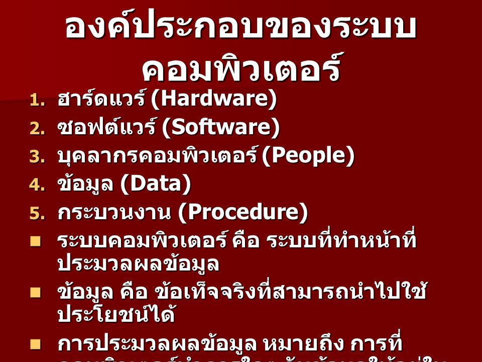 องค์ประกอบของระบบ คอมพิวเตอร์ 1. ฮาร์ดแวร์ (Hardware) 2. ซอฟต์แวร์ (Software) 3. บุคลากรคอมพิวเตอร์ (People) 4. ข้อมูล (Data) 5. กระบวนงาน (Procedure)