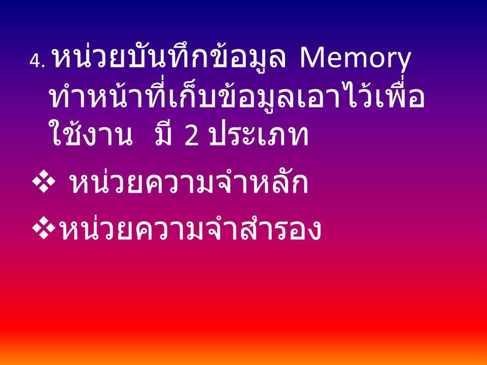 4. หน่วยบันทึกข้อมูล Memory ทำหน้าที่เก็บข้อมูลเอาไว้เพื่อ ใช้งาน มี 2 ประเภท  หน่วยความจำหลัก  หน่วยความจำสำรอง