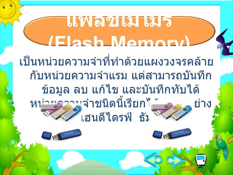 แฟลชเมโมรี (Flash Memory) เป็นหน่วยความจำที่ทำด้วยแผงวงจรคล้าย กับหน่วยความจำแรม แต่สามารถบันทึก ข้อมูล ลบ แก้ไข และบันทึกทับได้ หน่วยความจำชนิดนี้เรี