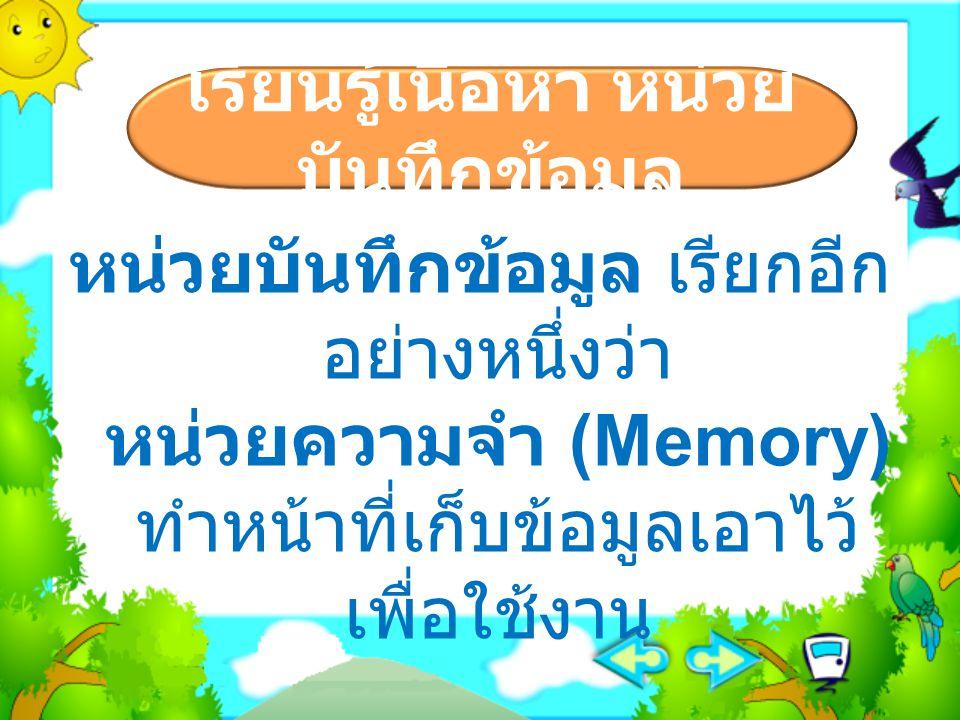 แบ่งออกเป็น 2 ประเภท ใหญ่ๆ คือ  หน่วยความจำหลัก (Primary Memory)  หน่วยความจำสำรอง (Secondary Memory) เรียนรู้เนื้อหา หน่วย บันทึกข้อมูล