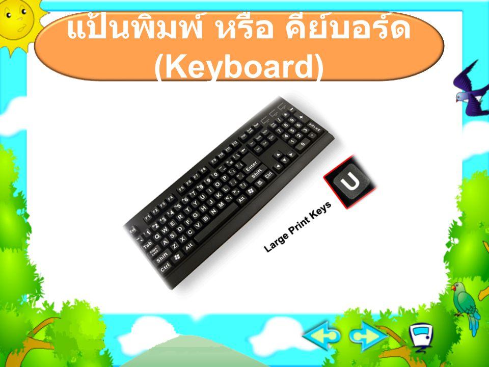  มีปุ่มต่างๆ คล้ายกับแป้นพิมพ์ของ เครื่องพิมพ์ดีด บนปุ่มจะเขียน ตัวอักษรซึ่งมีตัวพยัญชนะและสระทั้ง อักษรไทย และอังกฤษ เช่น ก ข ค ง จ ฉ และ A B C D เป็นต้น นอกจากนี้ ยังมีปุ่มพิเศษอีกหลายปุ่ม เช่น ปุ่ม Ctrl ปุ่ม Alt และ ปุ่ม Ese เป็นต้น  การใช้แป้นพิมพ์ให้ถูกวิธีนักเรียน จะต้องฝึกการวางมือให้ถูกต้องตาม หลักการพิมพ์ดีดสัมผัส แป้นพิมพ์ หรือ คีย์บอร์ด (Keyboard)