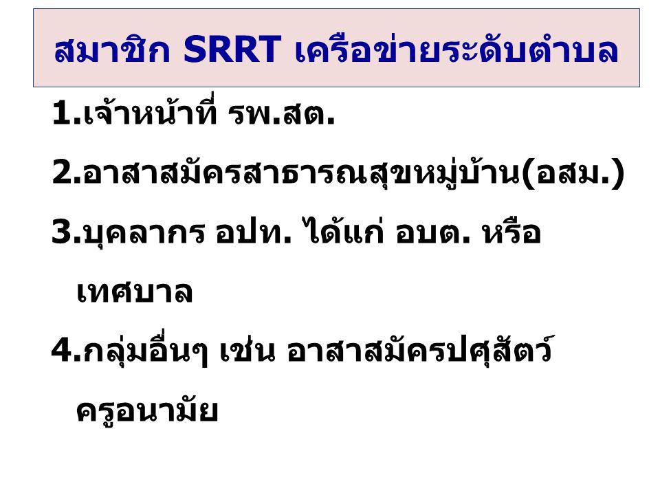 สมาชิก SRRT เครือข่ายระดับตำบล 1.เจ้าหน้าที่ รพ.สต.