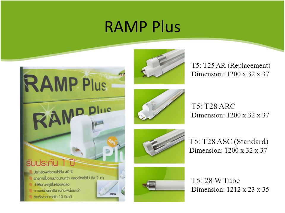 RAMP Plus T5: T25 AR (Replacement) Dimension: 1200 x 32 x 37 T5: T28 ARC Dimension: 1200 x 32 x 37 T5: T28 ASC (Standard) Dimension: 1200 x 32 x 37 T5