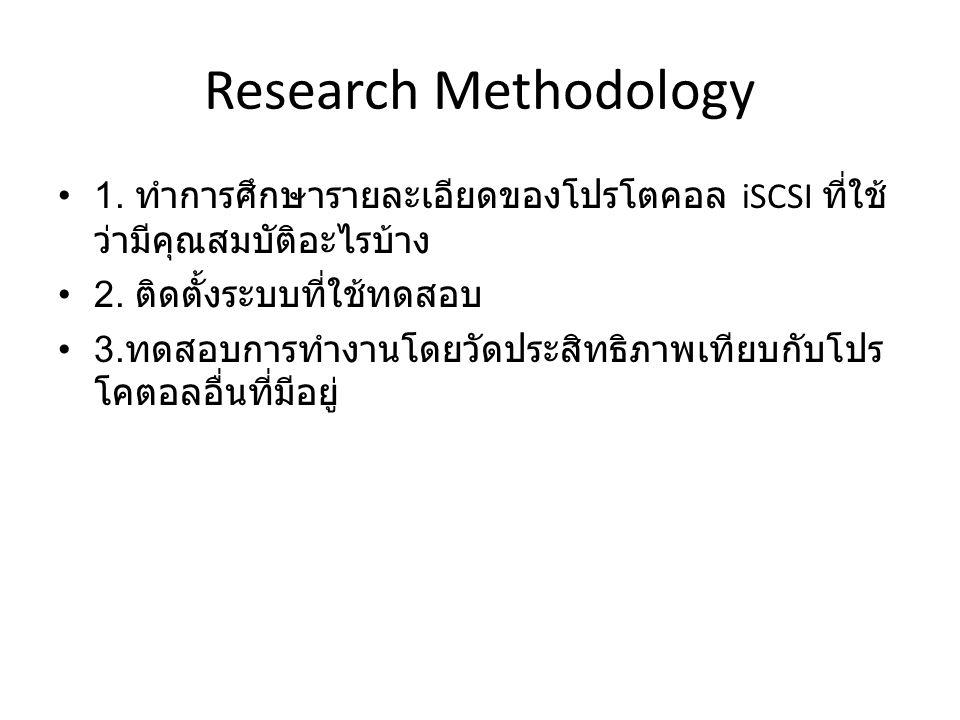 Research Methodology 1. ทำการศึกษารายละเอียดของโปรโตคอล iSCSI ที่ใช้ ว่ามีคุณสมบัติอะไรบ้าง 2. ติดตั้งระบบที่ใช้ทดสอบ 3. ทดสอบการทำงานโดยวัดประสิทธิภา