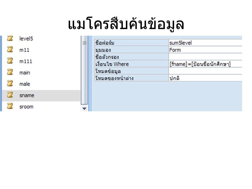 ขั้นตอนการสร้างแมโครแสดง รายงาน 1.สร้างรายงานแสดงข้อมูลนักศึกษาทั้งหมด ( ตาราง sum5level) 2.