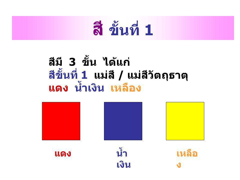 สีมี 3 ขั้น ได้แก่ สีขั้นที่ 1 แม่สี / แม่สีวัตถุธาตุ แดง น้ำเงิน เหลือง สี ขั้นที่ 1 แดงน้ำ เงิน เหลือ ง