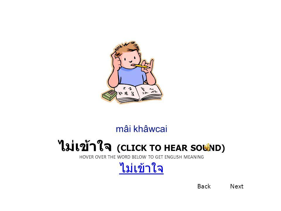 ไม่เข้าใจ (CLICK TO HEAR SOUND) HOVER OVER THE WORD BELOW TO GET ENGLISH MEANING ไม่เข้าใจ ไม่เข้าใจ mâi khâwcai BackNext
