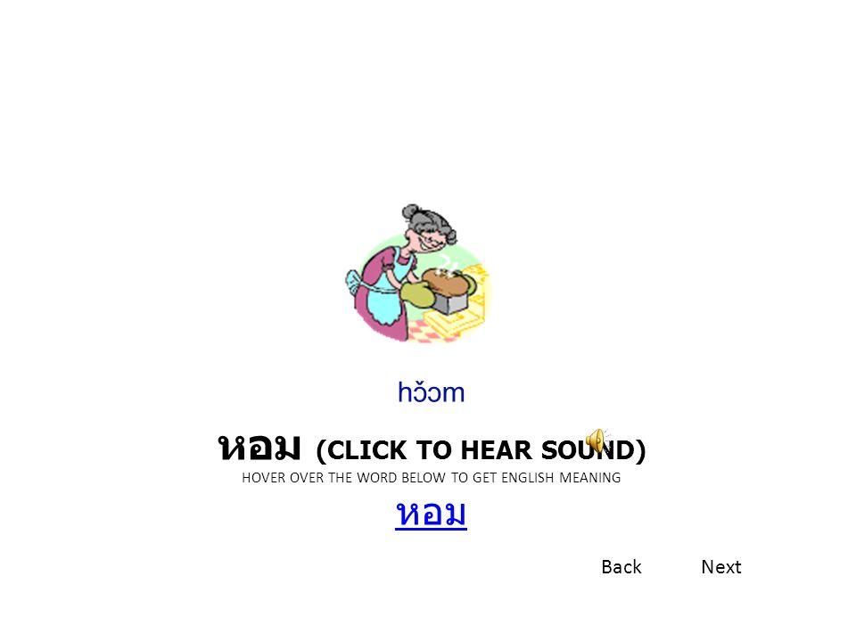 หอม (CLICK TO HEAR SOUND) HOVER OVER THE WORD BELOW TO GET ENGLISH MEANING หอม หอม hɔ̌ɔm BackNext