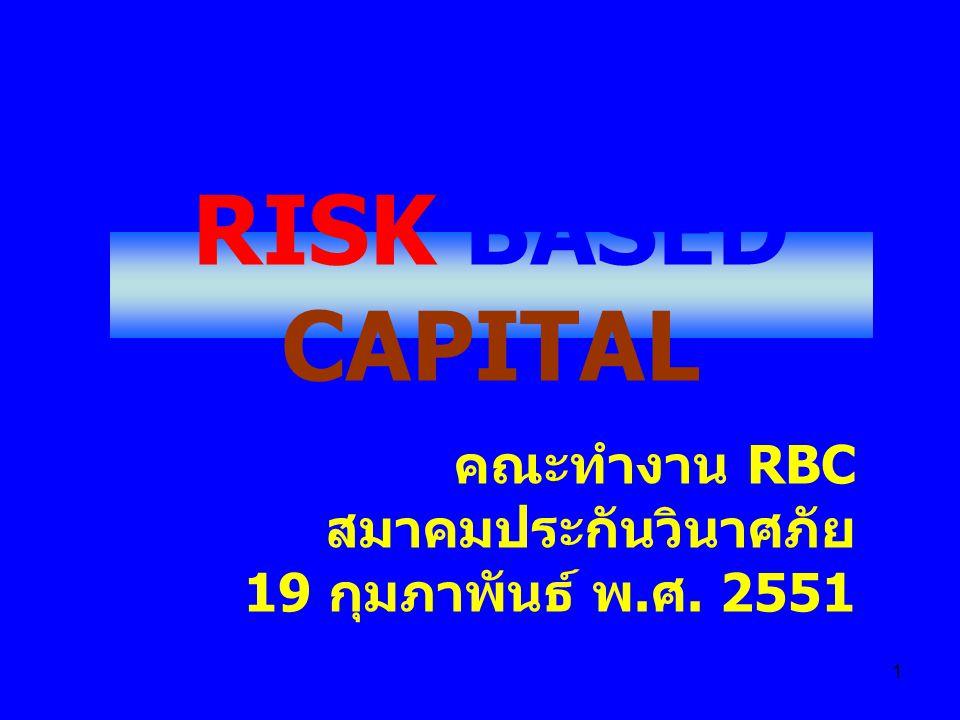 1 RISK BASED CAPITAL คณะทำงาน RBC สมาคมประกันวินาศภัย 19 กุมภาพันธ์ พ. ศ. 2551