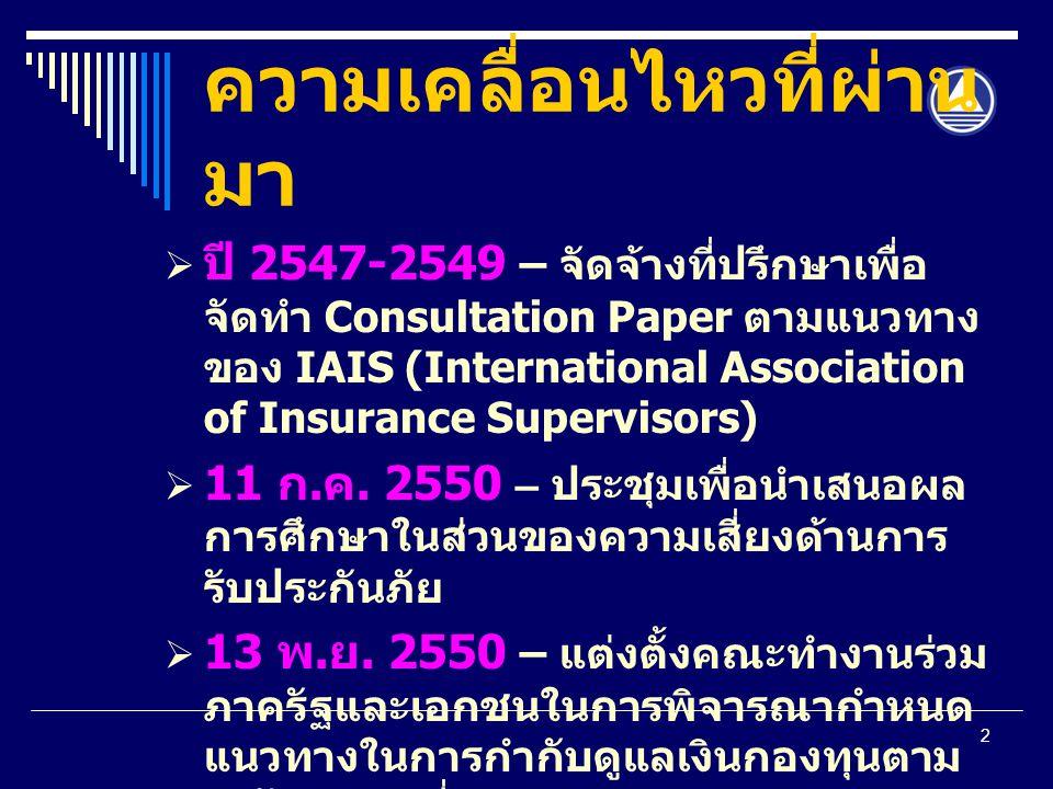 2 ความเคลื่อนไหวที่ผ่าน มา  ปี 2547-2549 – จัดจ้างที่ปรึกษาเพื่อ จัดทำ Consultation Paper ตามแนวทาง ของ IAIS (International Association of Insurance