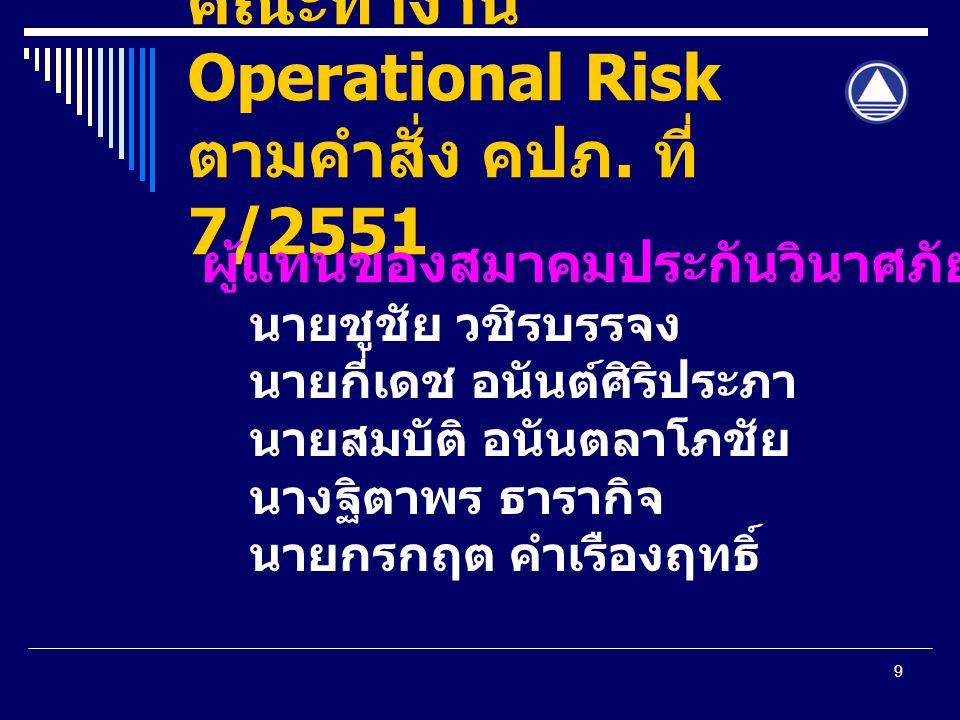 9 คณะทำงาน Operational Risk ตามคำสั่ง คปภ. ที่ 7/2551 ผู้แทนของสมาคมประกันวินาศภัย นายชูชัย วชิรบรรจง นายกี่เดช อนันต์ศิริประภา นายสมบัติ อนันตลาโภชัย