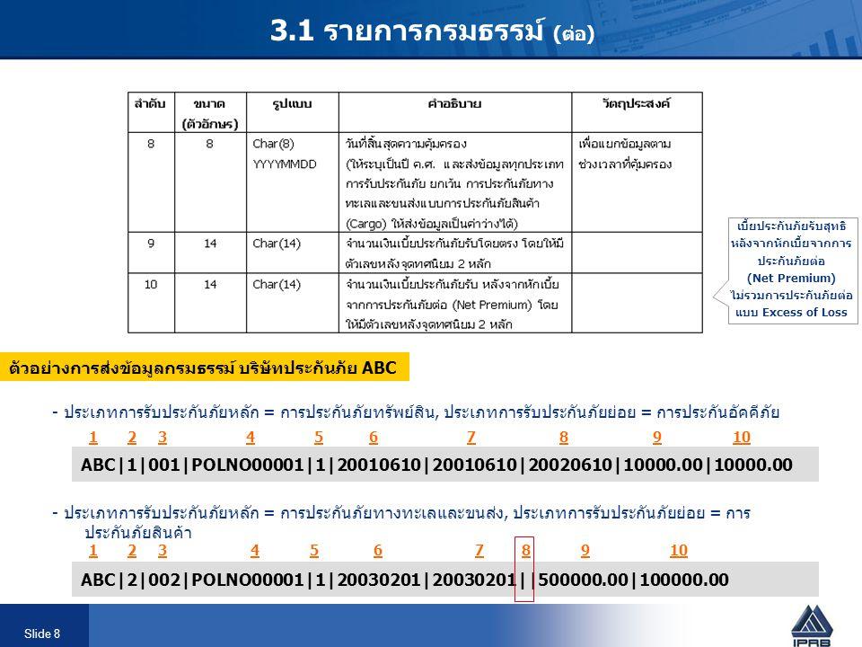 Slide 8 3.1 รายการกรมธรรม์ (ต่อ) ตัวอย่างการส่งข้อมูลกรมธรรม์ บริษัทประกันภัย ABC - ประเภทการรับประกันภัยหลัก = การประกันภัยทรัพย์สิน, ประเภทการรับประกันภัยย่อย = การประกันอัคคีภัย ABC|1|001|POLNO00001|1|20010610|20010610|20020610|10000.00|10000.00 ABC|2|002|POLNO00001|1|20030201|20030201||500000.00|100000.00 - ประเภทการรับประกันภัยหลัก = การประกันภัยทางทะเลและขนส่ง, ประเภทการรับประกันภัยย่อย = การ ประกันภัยสินค้า 1 2 3 4 5 6 7 8 9 10 เบี้ยประกันภัยรับสุทธิ หลังจากหักเบี้ยจากการ ประกันภัยต่อ (Net Premium) ไม่รวมการประกันภัยต่อ แบบ Excess of Loss