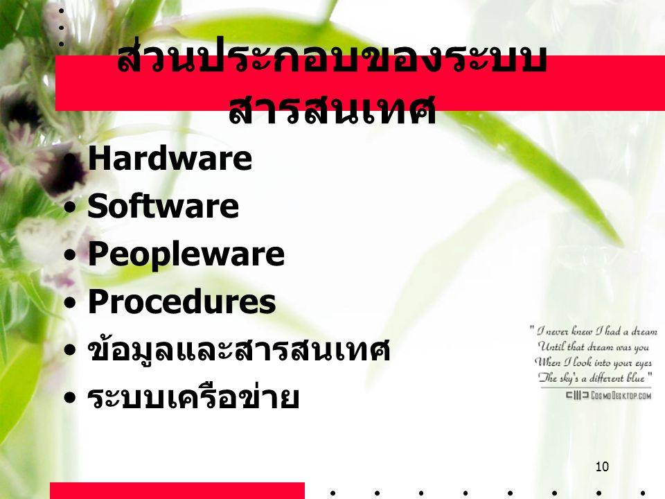 10 ส่วนประกอบของระบบ สารสนเทศ Hardware Software Peopleware Procedures ข้อมูลและสารสนเทศ ระบบเครือข่าย