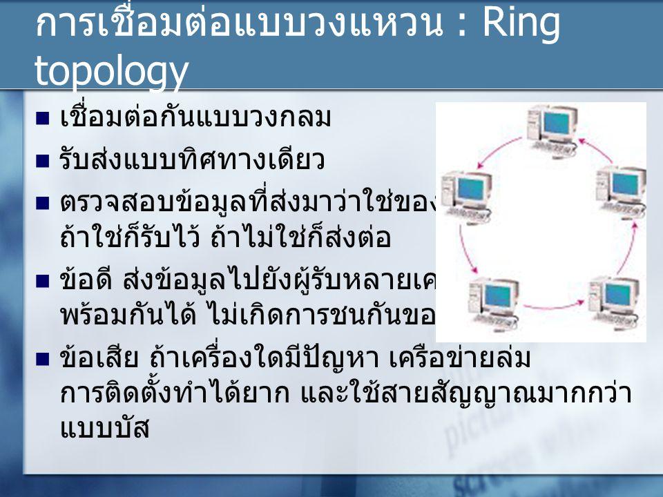 การเชื่อมต่อแบบวงแหวน : Ring topology เชื่อมต่อกันแบบวงกลม รับส่งแบบทิศทางเดียว ตรวจสอบข้อมูลที่ส่งมาว่าใช่ของตนหรือไม่ ถ้าใช่ก็รับไว้ ถ้าไม่ใช่ก็ส่งต่อ ข้อดี ส่งข้อมูลไปยังผู้รับหลายเครื่องๆ พร้อมกันได้ ไม่เกิดการชนกันของข้อมูล ข้อเสีย ถ้าเครื่องใดมีปัญหา เครือข่ายล่ม การติดตั้งทำได้ยาก และใช้สายสัญญาณมากกว่า แบบบัส