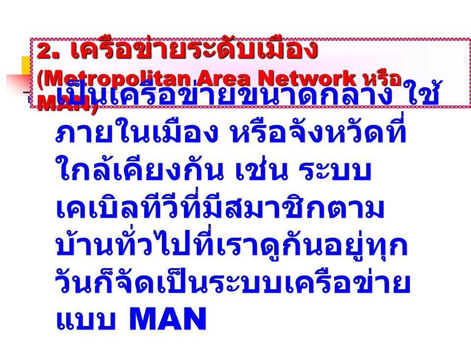 2. เครือข่ายระดับเมือง (Metropolitan Area Network หรือ MAN) (Metropolitan Area Network หรือ MAN) เป็นเครือข่ายขนาดกลาง ใช้ ภายในเมือง หรือจังหวัดที่ ใ