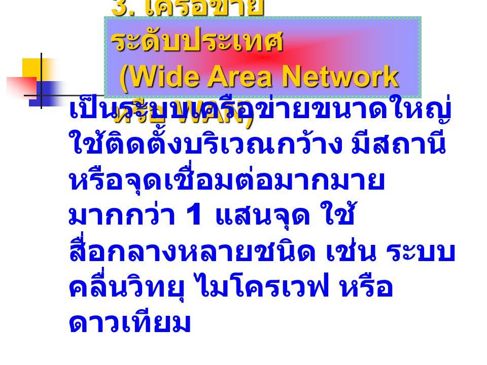 3. เครือข่าย ระดับประเทศ (Wide Area Network หรือ WAN) (Wide Area Network หรือ WAN) เป็นระบบเครือข่ายขนาดใหญ่ ใช้ติดตั้งบริเวณกว้าง มีสถานี หรือจุดเชื่
