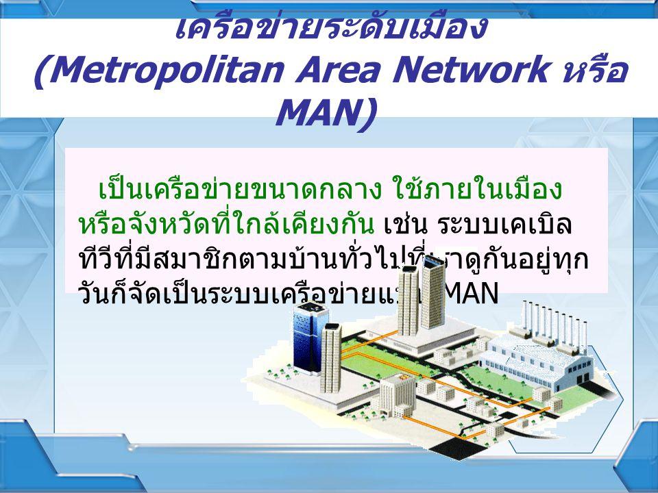 เครือข่ายระดับเมือง (Metropolitan Area Network หรือ MAN) เป็นเครือข่ายขนาดกลาง ใช้ภายในเมือง หรือจังหวัดที่ใกล้เคียงกัน เช่น ระบบเคเบิล ทีวีที่มีสมาชิ