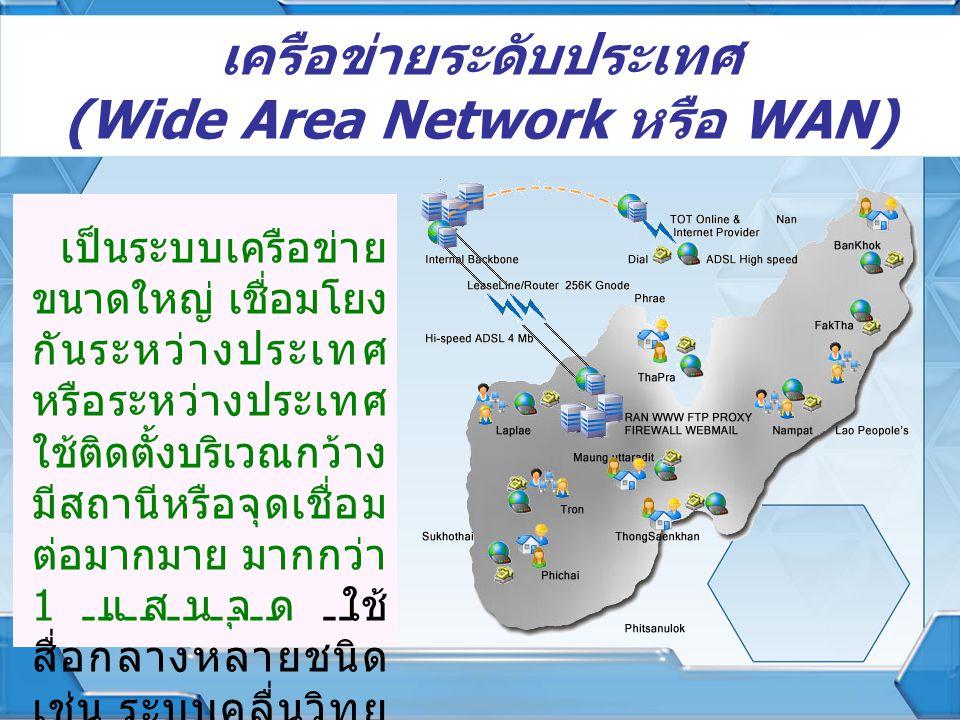 เครือข่ายระดับประเทศ (Wide Area Network หรือ WAN) เป็นระบบเครือข่าย ขนาดใหญ่ เชื่อมโยง กันระหว่างประเทศ หรือระหว่างประเทศ ใช้ติดตั้งบริเวณกว้าง มีสถาน