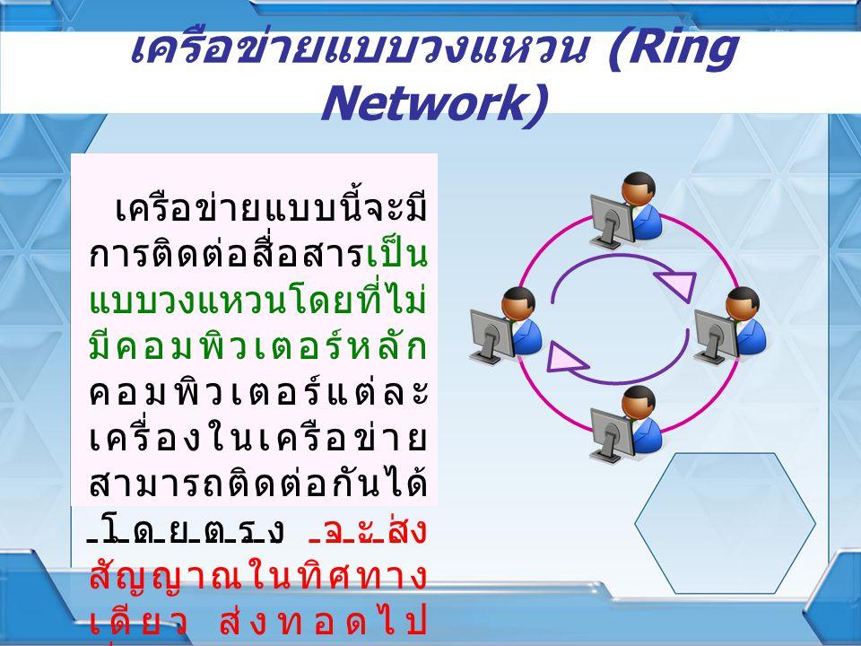 เครือข่ายแบบวงแหวน (Ring Network) เครือข่ายแบบนี้จะมี การติดต่อสื่อสารเป็น แบบวงแหวนโดยที่ไม่ มีคอมพิวเตอร์หลัก คอมพิวเตอร์แต่ละ เครื่องในเครือข่าย สา