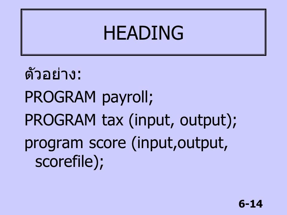 6-14 HEADING ตัวอย่าง : PROGRAM payroll; PROGRAM tax (input, output); program score (input,output, scorefile);