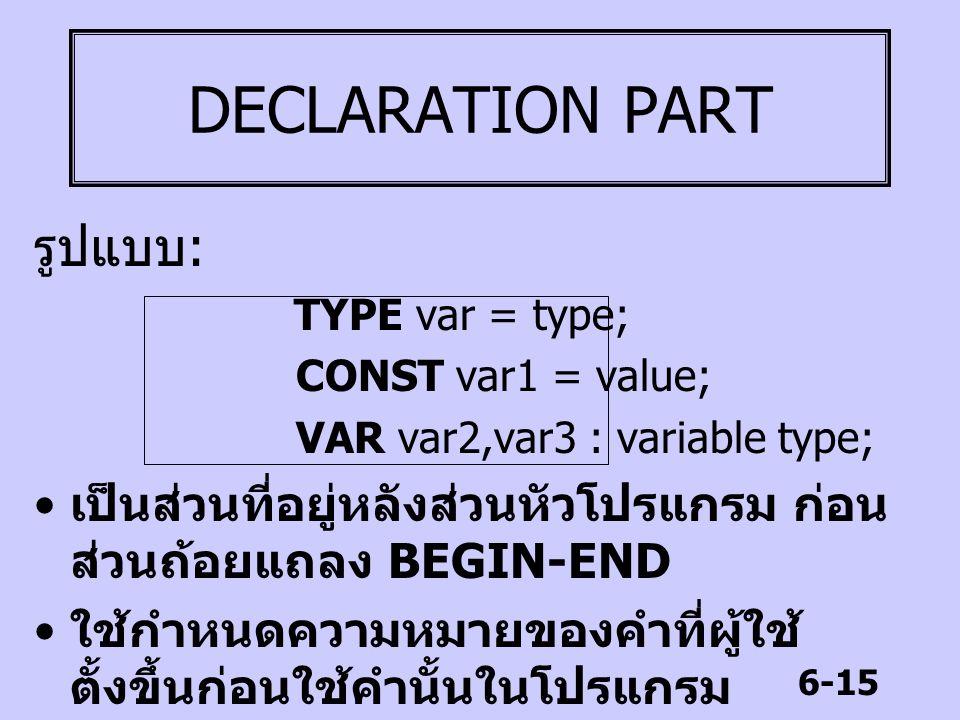 6-15 DECLARATION PART รูปแบบ : TYPE var = type; CONST var1 = value; VAR var2,var3 : variable type; เป็นส่วนที่อยู่หลังส่วนหัวโปรแกรม ก่อน ส่วนถ้อยแถลง