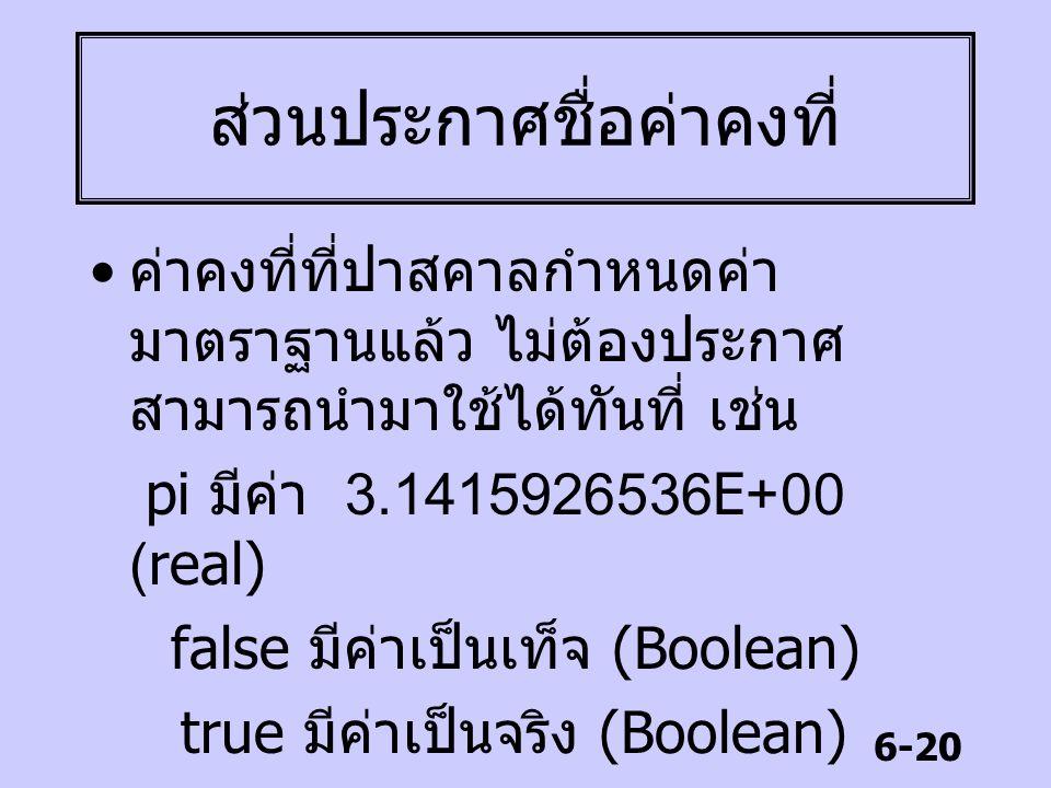6-20 ส่วนประกาศชื่อค่าคงที่ ค่าคงที่ที่ปาสคาลกำหนดค่า มาตราฐานแล้ว ไม่ต้องประกาศ สามารถนำมาใช้ได้ทันที่ เช่น pi มีค่า 3.1415926536E+00 (real) false มี