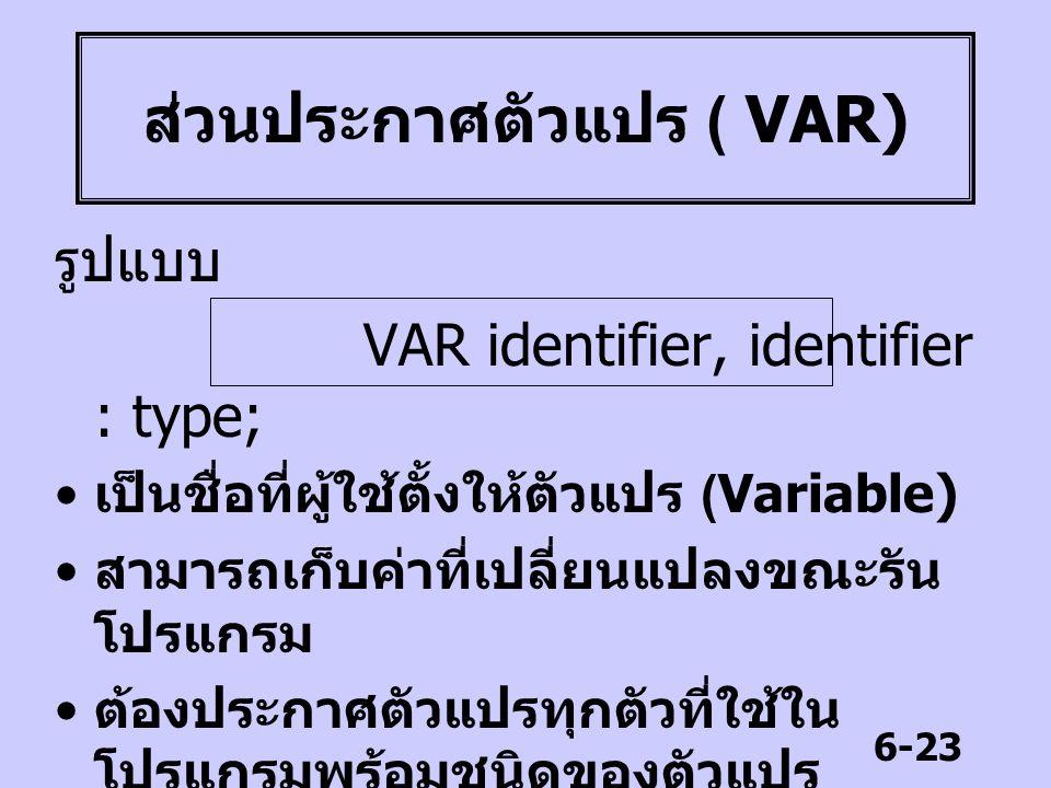 6-23 ส่วนประกาศตัวแปร ( VAR) รูปแบบ VAR identifier, identifier : type; เป็นชื่อที่ผู้ใช้ตั้งให้ตัวแปร (Variable) สามารถเก็บค่าที่เปลี่ยนแปลงขณะรัน โปร
