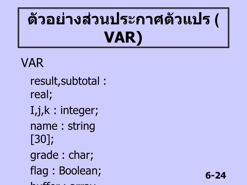 6-24 ตัวอย่างส่วนประกาศตัวแปร ( VAR) VAR result,subtotal : real; I,j,k : integer; name : string [30]; grade : char; flag : Boolean; buffer : array [1.