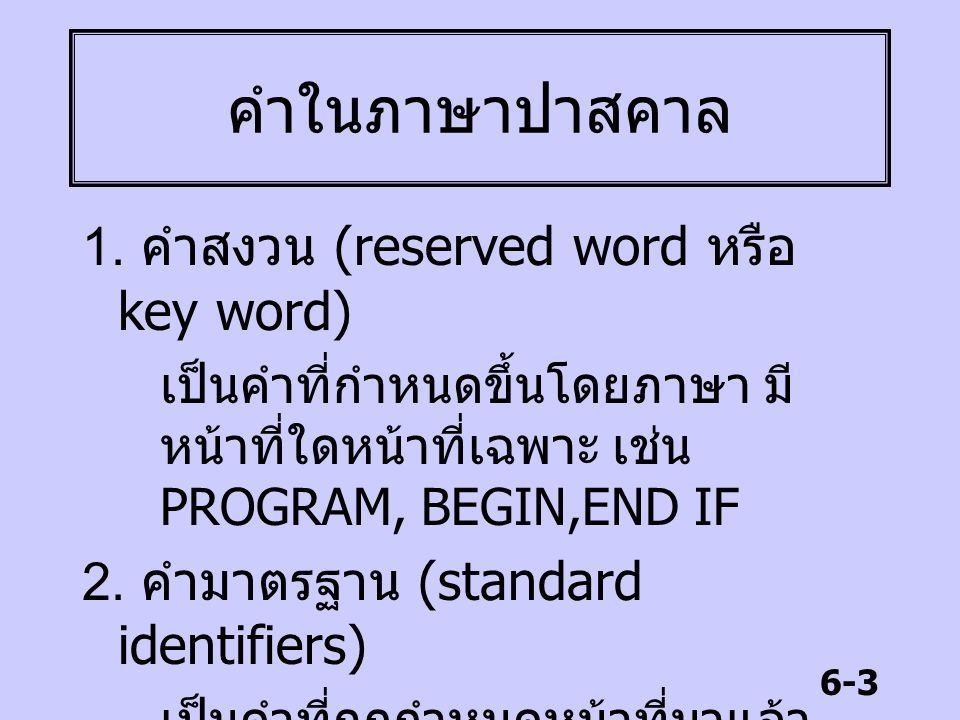 6-3 คำในภาษาปาสคาล 1. คำสงวน (reserved word หรือ key word) เป็นคำที่กำหนดขึ้นโดยภาษา มี หน้าที่ใดหน้าที่เฉพาะ เช่น PROGRAM, BEGIN,END IF 2. คำมาตรฐาน